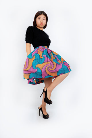 New in African Print Mini Skater Skirt - Blue - ATMKollectionz