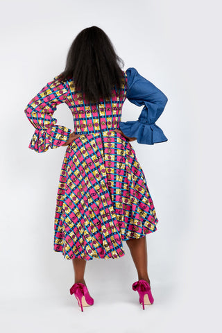 Olachi Denim African Print Combo Flared Midi Dress