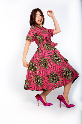 New in African Ankara Print Embellished Wrap Dress -Pink - ATMKollectionz