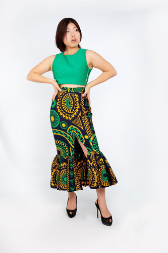 New in Gathered Fish African Print Fitter Skirt
