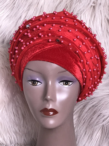 Red Beaded Mesh Velvet Head wrap ( Extra Long Scarf) - African Clothing from CUMO LONDON