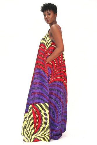 African Print Mixed coloured Ankara Print Maxi Dress