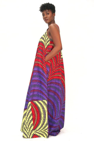 African Print Mixed coloured Ankara Print Maxi Dress - African Clothing from CUMO LONDON