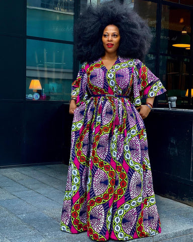 Plus Size African Print Maxi Dress with Cape - Pink - ATMKollectionz