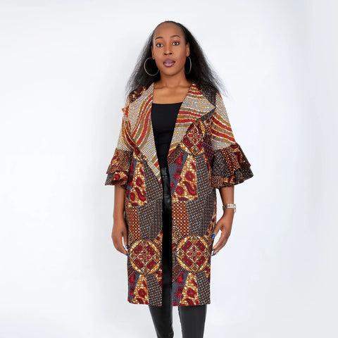 New in Nika Embellished African Print Kimono Jacket - ATMKollectionz