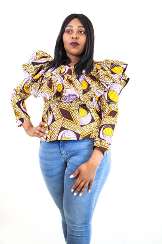 New in Ankara Wax Print Long Sleeve Ruffle Top - African Clothing from CUMO LONDON