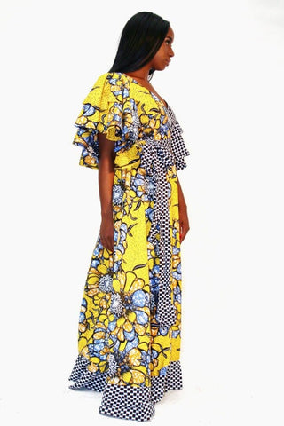 African Print Yellow Ankara Print Maxi Dress