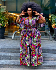 Plus Size African Print Maxi Dress with Cape - Pink