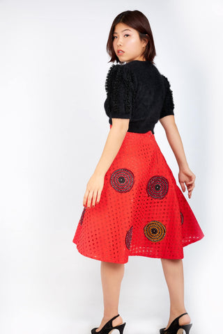 Kamara Lace Ankara Combo Embellished Flare Skirt - Red - ATMKollectionz
