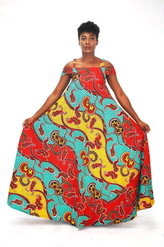 Bianca African Ankara Print Maxi Dress - Plus Size