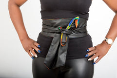 New In African Prints Reversible Leather Obi Belt - ATMKollectionz