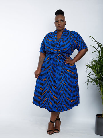 African Print Wrap Midi Dress - Lola - African Clothing from CUMO LONDON