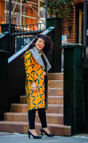 New In African Ankara Combo Print Midi Jacket