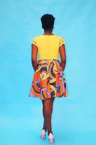 African Print Ankara Lace Midi v-neck Dress - ATMKollectionz