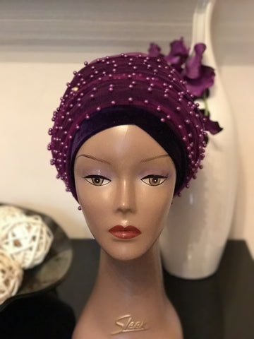 Pearl Beaded Velvet Turban Head Wrap/Hijab - African Clothing from CUMO LONDON