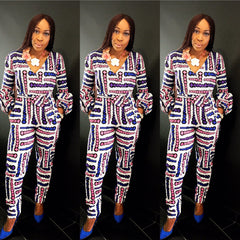 African Print Ankara Long sleeve  jumpsuit - ATMKollectionz