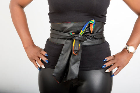 New In African Prints Reversible Leather Obi Belt - African Clothing from CUMO LONDON