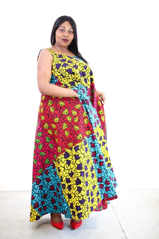 New in African Print Mixed coloured Ankara Print Maxi Dress