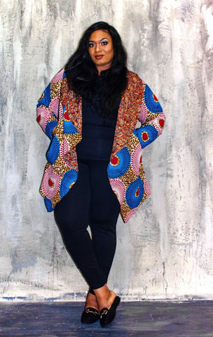 New in African Print Ankara Midi Reversible Jacket - ATMKollectionz