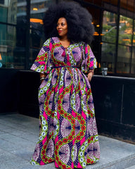 Plus Size African Print Maxi Dress with Cape - Pink - African Clothing from CUMO LONDON