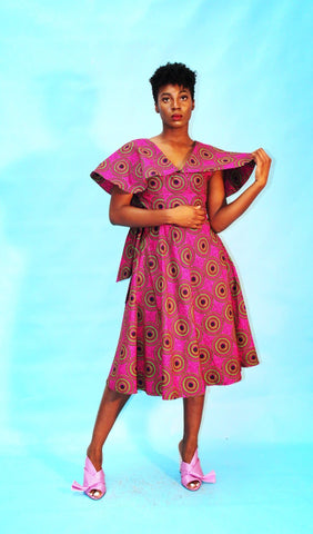Cape Neck African Ankara Print Wrap Dress -Pink - ATMKollectionz