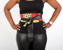 New In African Prints Reversible Leather Obi Belt - OLLAMMA - African Clothing from CUMO LONDON