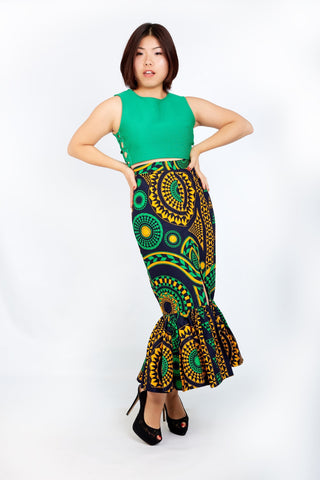 New in Gathered Fish African Print Fitter Skirt - African Clothing from CUMO LONDON