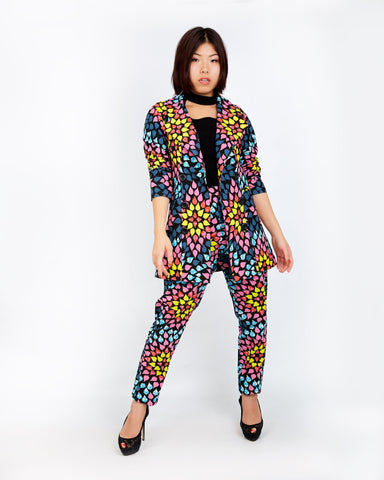 New In ONNA African Ankara Print Jacket and Trouser Set