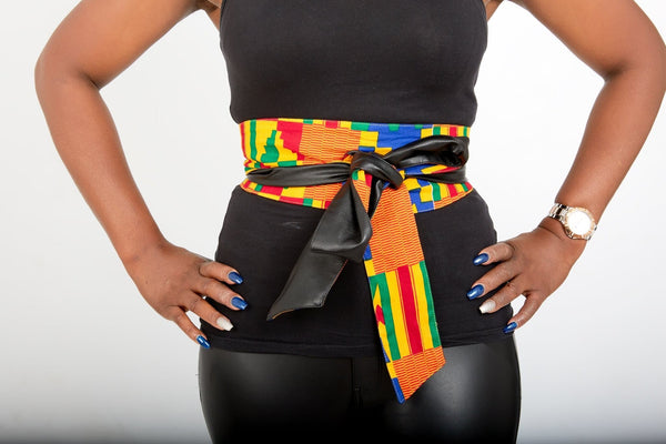 New In African Prints Reversible Leather Obi Belt - Kente - African Clothing from CUMO LONDON