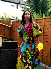 African Ankara Print Wrap Top - Puff Sleeves - ATMKollectionz