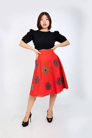 Kamara Lace Ankara Combo Embellished Flare Skirt - Red