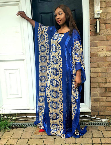 Embellished Chiffon African Blue Bubu Maxi Dress - One Size Fits All