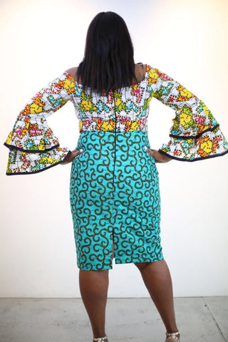 Fully Embellished Mixed Print Ankara Fitted Combo Dress - African Clothing from CUMO LONDON