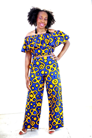New in 2 Pcs African Print Ankara Off Shoulder Crop Top and Trouser Set - African Clothing from CUMO LONDON