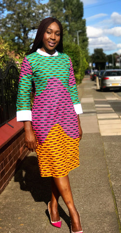 African Prints Ankara Collar Midi Dress