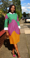 African Prints Ankara Collar Midi Dress - African Clothing from CUMO LONDON