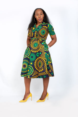 New in - Olamma African Ankara Print Wrap Dress - Mixed Print