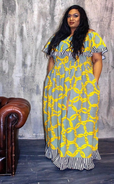 New in Efua African Ankara Print off shoulder Maxi Dress - African Clothing from CUMO LONDON