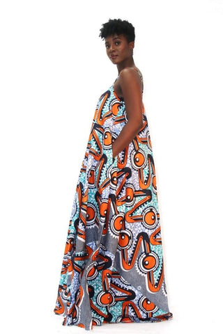 African Print Mixed coloured Ankara Print Maxi Dress - Plus