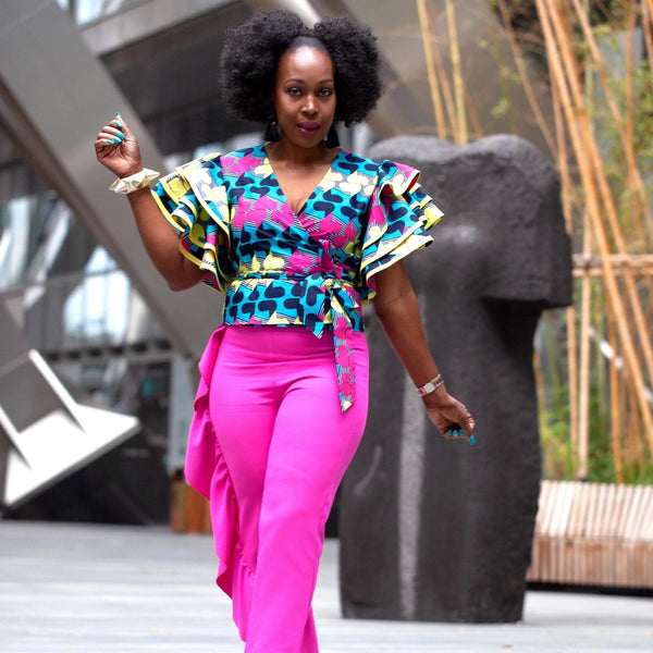 Shaku Shaku African Print Batik Wrap Top - Pink - African Clothing from CUMO LONDON