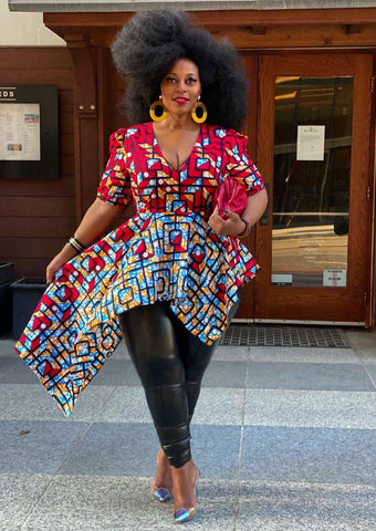 Plus Size - Zuriel Vienna African Print Asymmetric Blouse/Top - African Clothing from CUMO LONDON