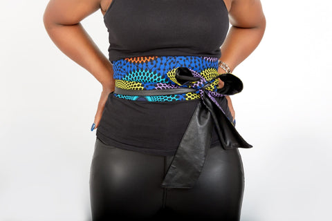 New In African Prints Reversible Leather Obi Belt - OLLAMMA - ATMKollectionz