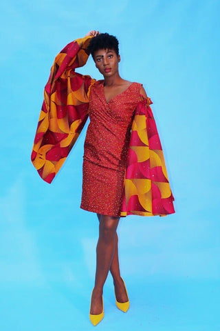 Embellished African Print Ankara Fitted Red Dress with Cut-out Sleeves - African Clothing from CUMO LONDON