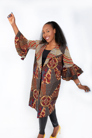 New in Nika Embellished African Print Kimono Jacket - African Clothing from CUMO LONDON