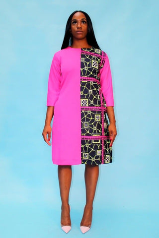 African Print Ankara Combo Pencil Dress - ATMKollectionz