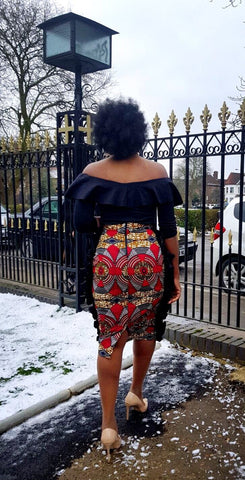 New in African Print Ankara Side Ruffle Pencil skirts