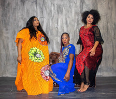 African Inspired Embellished Lace Ankara Inspired Bubu One Size Fits All - ATMKollectionz