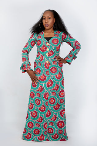 Long Sleeve Fitted African Print Maxi Dress - ATMKollectionz