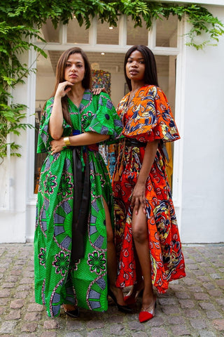 African Print Maxi Dress with Cape Slevees - Orange - ATMKollectionz