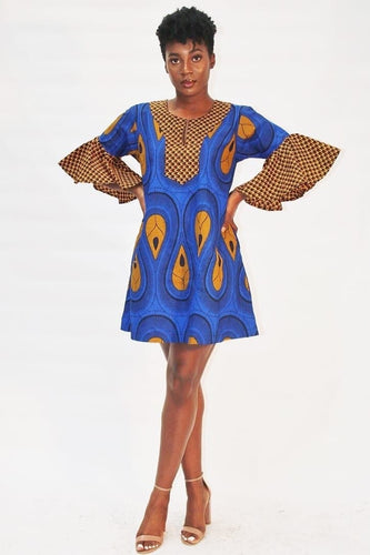 African Ankara Print Summer Shift Dress -Blue